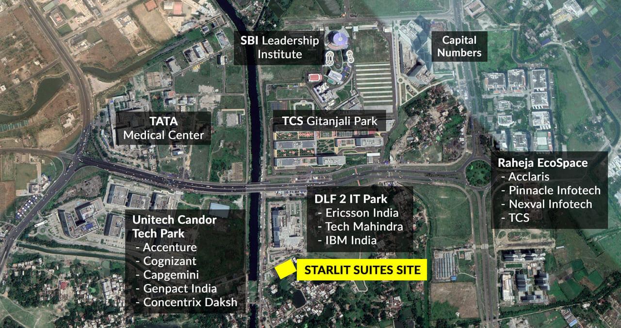 Starlit Suites Kolkata - Google Map with Surroundings